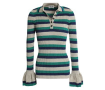 Metallic Striped Ribbed-knit Sweater Neutral