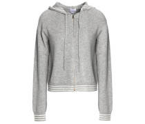 Zip-front striped mélange wool and cashmere hooded sweater