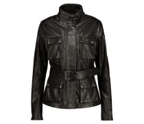 Triumph belted textured-leather jacket