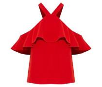 Zuma cold-shoulder ruffled crepe blouse