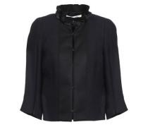 Fringe-trimmed Satin Jacket Midnight Blue