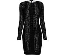 Metallic Jacquard-knit Mini Dress Beige