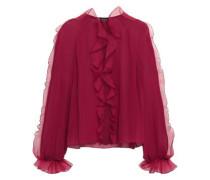 Ruffled Paneled Silk-chiffon And Organza Blouse Claret