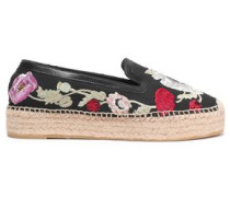 Leather-trimmed Embroidered Canvas Espadrilles Black