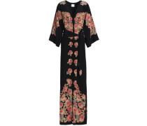Belted floral-print silk crepe de chine maxi dress