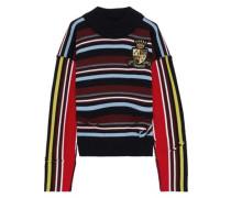 Distressed Appliquéd Striped Intarsia Merino Wool Sweater Multicolor