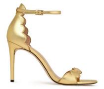 Ava scalloped metallic leather sandals