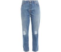Woman Josefina Distressed High-rise Slim-leg Jeans Mid Denim