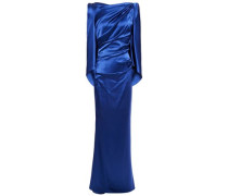 Woman Sonica Ruched Satin-crepe Gown Royal Blue