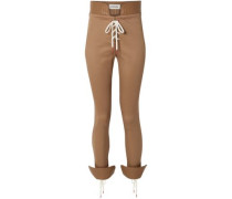 Lace-up Leather-trimmed Cotton-blend Twill Skinny Pants Sand