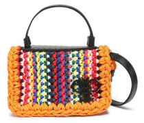 Leather-trimmed Woven Shoulder Bag Orange Size --