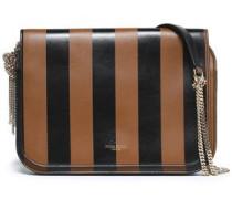 Striped leather shoulder bag