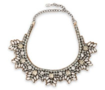 Woman Brilliant Flowers Silver-tone, Silk-satin And Crystal Necklace Brass