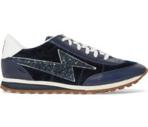Astor Jogger glitter-paneled suede and leather sneakers