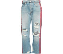 Distressed High-rise Straight-leg Jeans Light Denim  4