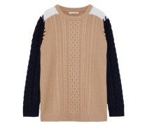 Color-block Cable-knit Wool Sweater Camel