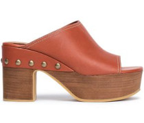 Studded Leather Clogs Brick