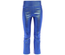 Cropped Metallic Stretch-leather Leggings Bright Blue