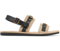 Jess paneled leather and woven sandals