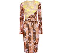 Paneled Ruched Printed Jersey Dress Orange Size 12