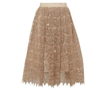 Almira sequined metallic guipure lace skirt