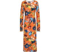 Floral-print Stretch-cotton Jersey Midi Dress Orange