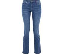 Paris Frayed Mid-rise Slim-leg Jeans Mid Denim  8