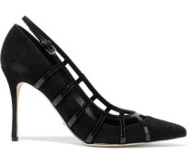 Cutout Patent-leather And Suede Pumps Black