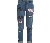 Embellished slim-leg jeans