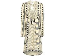 Fringe-trimmed Embroidered Striped Cotton-gauze Dress Black