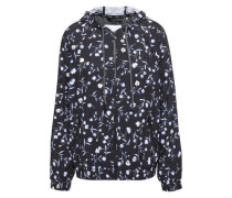 Floral-print Scuba Hooded Track Jacket Black