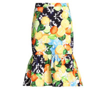 Fluted Printed Cotton-blend Skirt Multicolor