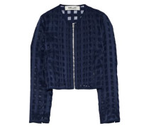 Pintucked fil coupé chiffon jacket