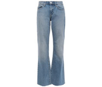Woman Faded Mid-rise Flared Jeans Mid Denim
