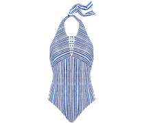 Alana cutout striped halterneck swimsuit