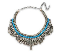 Woman Gunmetal-tone, Crystal And Satin Necklace Blue