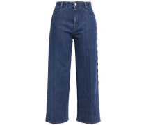 Woman Jacquard-trimmed Cropped High-rise Wide-leg Jeans Mid Denim