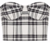 Strapless checked twill bustier top