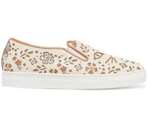 Cool Cats Laser-cut Leather Slip-on Sneakers Ecru