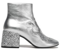 Glittered leather ankle boots
