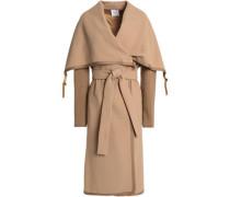 Knitted-paneled wool-crepe coat