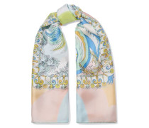Printed Silk-twill Scarf Neutral Size --