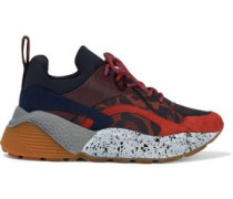 Woman Coated Rubber, Neoprene And Jacquard Sneakers Crimson