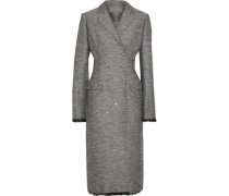 Double-breasted Sequin-embellished Woven Coat Anthracite