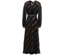 Metallic Striped Fil Coupé Silk-blend Midi Dress Black