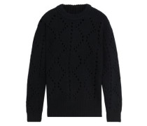 Pointelle-knit Wool And Cashmere-blend Sweater Black