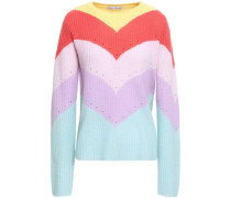 Pointelle-trimmed Color-block Ribbed Cashmere Sweater Multicolor
