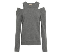 Cold-shoulder Mélange Knitted Sweater Gray