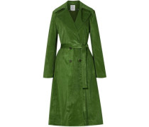 Pleated Cotton-blend Corduroy Trench Coat Leaf Green