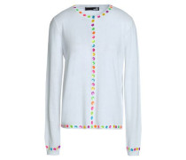 Embellished Stretch-knit Cotton-blend Cardigan White